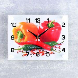 """Часы настенные, серия: Кухня, """"Перцы"""", 20х26 см  микс 2401095"""
