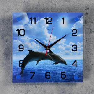 """Часы настенные, серия: Море, """"Дельфины в открытом море"""", 25х25  см, микс 1237243"""