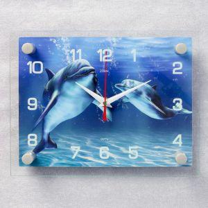 """Часы настенные, серия: Море, """"Дельфины"""", 20х26  см, микс 2267888"""