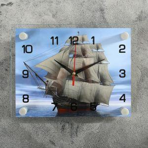 """Часы настенные, серия: Море, """"Корабль"""" стекло 20х26  см, микс 888065"""