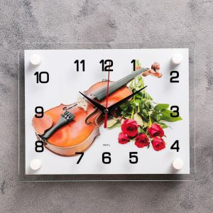 """Часы настенные, серия: Музыка, """"Розы и скрипка"""", 20х26 см 2267892"""