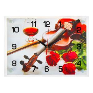 """Часы настенные, серия: Музыка, """"Скрипка и розы"""", 25х35  см, микс 1241597"""