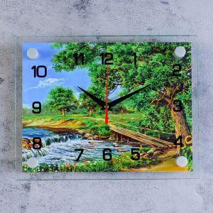 """Часы настенные, серия: Природа, """"Горная река"""", стекло, 20х26  см, микс 1061699"""