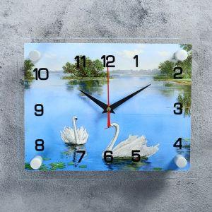 """Часы настенные, серия: Природа, """"Лебеди в озере"""", 20х26  см, микс 1141456"""