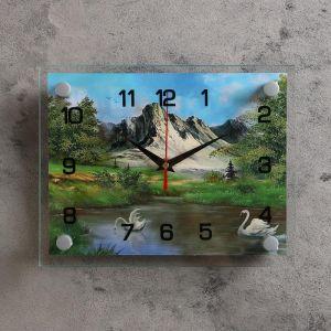 """Часы настенные, серия: Природа, """"Лебеди на воде, природа"""", 20х26  см, микс 1186162"""