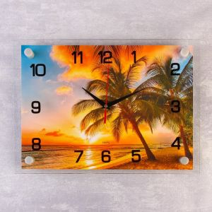 "Часы настенные, серия: Природа, ""Пальмы на закате"", 25х35  см, микс 1186153"