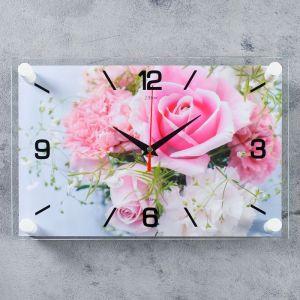 "Часы настенные, серия: Цветы, ""Нежные розы"", 20х30 см 4551223"