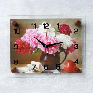 """Часы настенные, серия: Цветы, """"Пионы"""", стекло, 20х26  см, микс 1061698"""