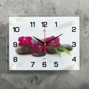 "Часы настенные, серия: Цветы, ""Цветки на камнях"", 20х26 см  микс 2267891"