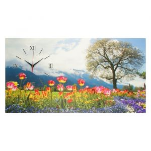 """Часы на холсте """"Цветочное поле"""", 50х100  см, микс 2570085"""
