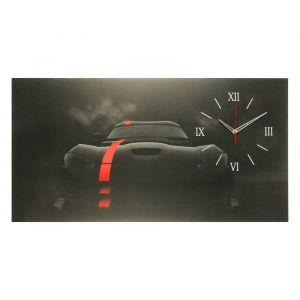 "Часы на холсте ""Чёрный спорткар"", 50х100  см, микс 2570091"