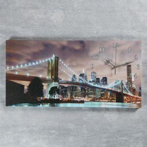 """Часы настенные, серия: Город, на холсте """"Бруклинский мост"""", 40х76  см, микс 2045180"""