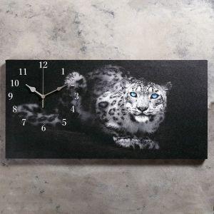 """Часы настенные, серия: Животный мир, на холсте """"Леопард"""", 40х76  см, микс 2045207"""