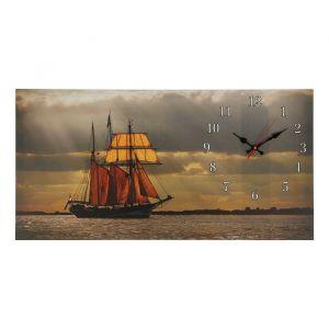 """Часы настенные, серия: Море, на холсте """"Парусник"""", 40х76  см, микс 2045195"""