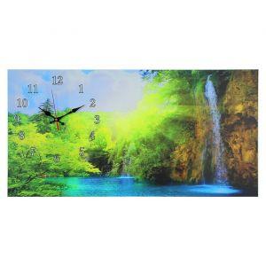 """Часы настенные, серия: Природа, на холсте """"Лесной водопад"""", 40х76  см, микс 2045162"""