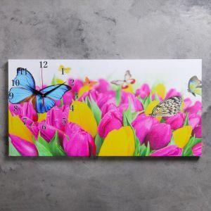"""Часы настенные, серия: Цветы, на холсте """"Бабочки и тюльпаны"""", 40х76  см, микс 2045167"""