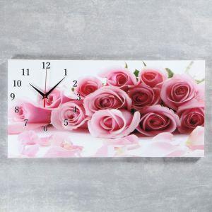 """Часы настенные, серия: Цветы, на холсте """"Нежные розы"""", 40х76  см, микс 2045171"""
