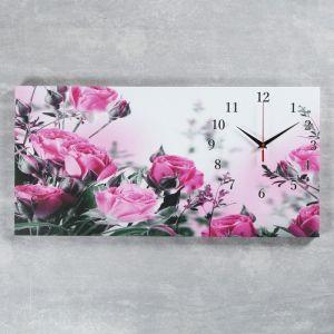 """Часы настенные, серия: Цветы, на холсте """"Розовые розы"""", 40х76  см, микс 2045170"""
