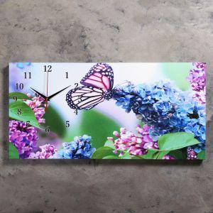 """Часы настенные, серия: Цветы, на холсте """"Сирень и бабочка"""", 40х76  см, микс 2045193"""