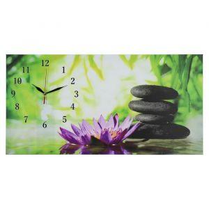 """Часы настенные, серия: Цветы, на холсте """"Цветы и камни"""", 40х76  см, микс 2045165"""