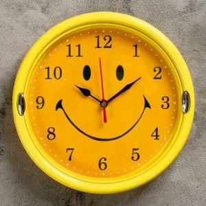 """Часы настенные детские """"Смайлик"""", d=20 см, дискретный ход, рама жёлтая"""