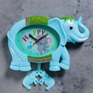 """Часы настенные, серия: Детские,  """"Голубой слоник"""", 36х24 см 2761125"""