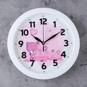 """Часы настенные, серия: Детские, """"Мишка с шариком"""", 28х28  см, микс 883185"""