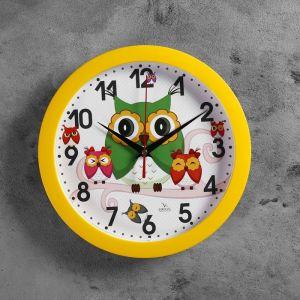 """Часы настенные круглые """"Сова"""" детские, желтые"""