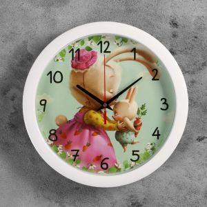"""Часы настенные, серия: Животный мир, """"Зайки"""", белый обод, 28х28  см, микс  2436378"""