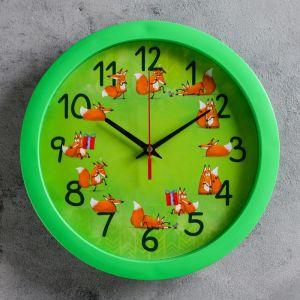 """Часы настенные """"Лисички"""", зелёный обод, 28х28 см, микс"""