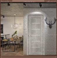 Межкомнатная дверь NEXT 1 Муар светло-серый, стекло - ЛАКОБЕЛЬ Белое :