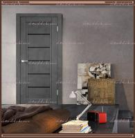 Межкомнатная дверь NEXT 1  Муар тёмно-серый, стекло - ЛАКОБЕЛЬ Чёрное :