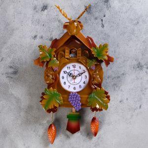 """Часы настенные с кукушкой, серия: Детские, """"Белочки вокруг домика 40х21 см 669583"""