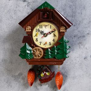 """Часы настенные с кукушкой, серия: Детские, """"Мельница с колесом"""", 18х21 см 760827"""