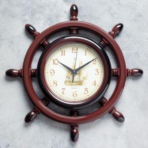 """Часы настенные, серия: Море, """"Штурвал"""", коричневая патина, d=35 см, микс 834812"""