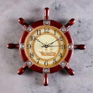 """Часы настенные, серия: Море, """"Штурвал"""", коричневый, d=35см 1195075"""