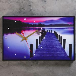"""Часы настенные, серия: Природа, """"Пирс на озере"""", 37х60  см, микс 1192862"""