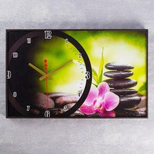 """Часы настенные, серия: Цветы """"Розовый цветок на камнях"""",  микс 37х60 см 2728832"""