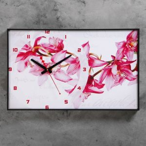 "Часы-картина ""Орхидеи"", 37х60  см, микс 1152323"