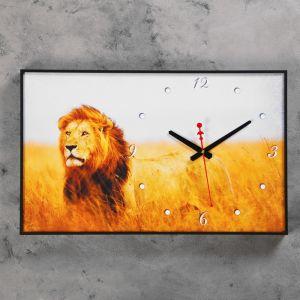 """Часы-картина """"Царь зверей"""", 37х60 см 2728720"""