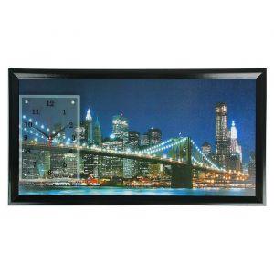 """Часы-картина настенные, серия: Город, """"Бруклинский Мост ночью"""", 50х100  см, микс 1541477"""