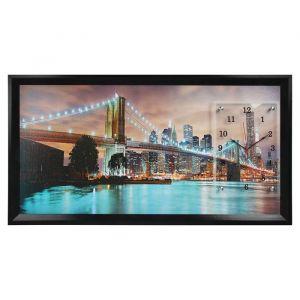 """Часы-картина настенные, серия: Город, """"Бруклинский мост"""", 50х100  см, микс 1541486"""