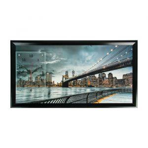 """Часы-картина настенные, серия: Город, """"Бруклинский мост"""", 50х100 см, миск 1541502"""