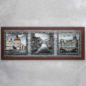 """Часы-картина настенные, серия: Город, """"Старая Европа"""", 35х100  см, микс 1222601"""