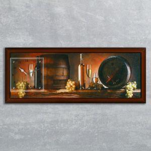 """Часы-картина настенные, серия: Интерьер, """"Винные бочки"""", 35х100  см, микс 1210498"""