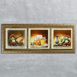"Часы-картина настенные, серия: Кухня, ""Дары осени"", 35х100  см, микс 1210489"