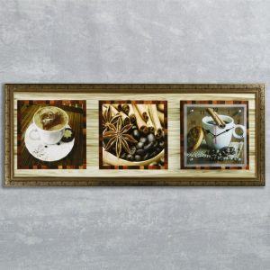 """Часы-картина настенные, серия: Кухня, """"Кофе с корицей"""", 35х100  см, микс 1210494"""
