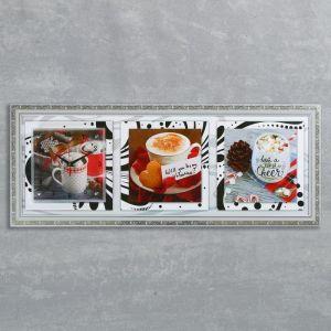 """Часы-картина настенные, серия: Кухня, """"Кофе"""", 35х100  см, микс 1541474"""