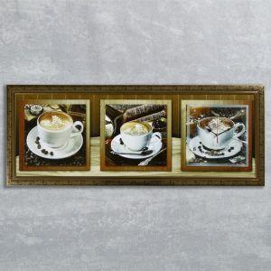 """Часы-картина настенные, серия: Кухня, """"Кофейная церемония"""", 35х100  см, микс 1210492"""