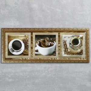 """Часы-картина настенные, серия: Кухня, """"Кофейные зерна"""", 35х100  см, микс 1210496"""